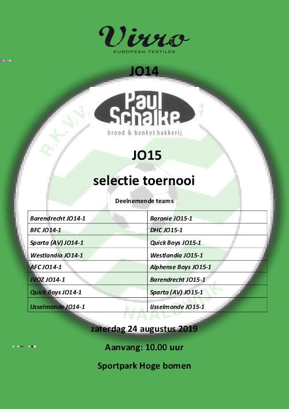 Virro - Paul Schalke JO14 & 15 selectietoernooi